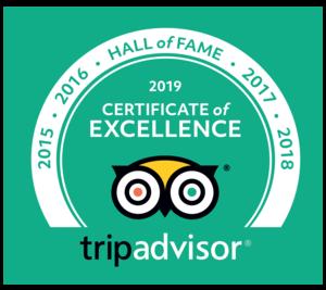 Trip Advisor Cert of Excellence