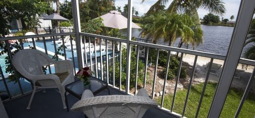 Marco Island Lakeside Inn Lakeview Superior 1BR Suite first floor screened porch lake pool view