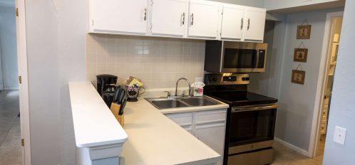 Marco Island Lakeside Inn Lakeview Superior 2 BR-2BA Suite kitchen closeup
