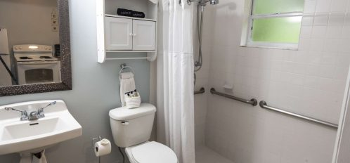 Marco Island Lakeside Inn Poolside Studio ADA bathroom roll-in shower