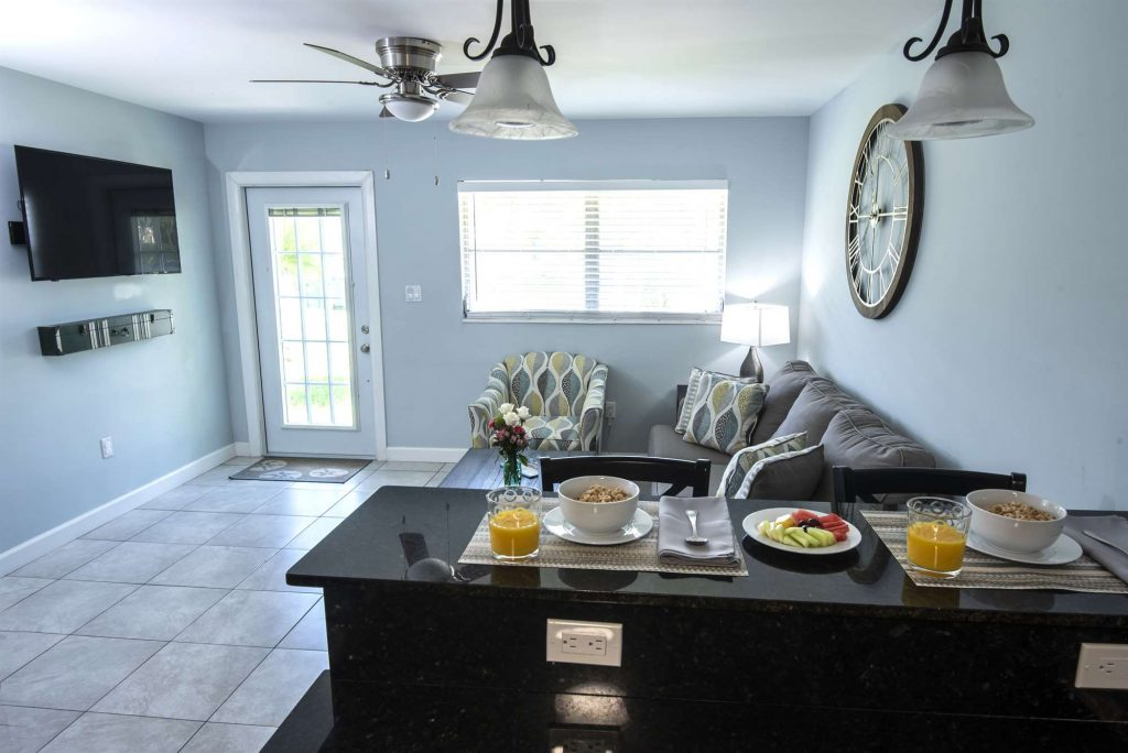 Marco Island Lakeside Inn Standard Villa 2BR-1BA breakfast bar to living room