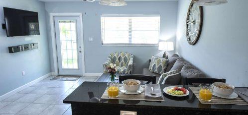 Marco Island Lakeside Inn Standard Villa 2BR-1BA breakfast bar to living room