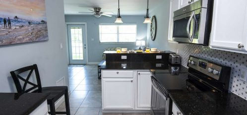 Marco Island Lakeside Inn Standard Villa 2BR-1BA kitchen to breakfast bar