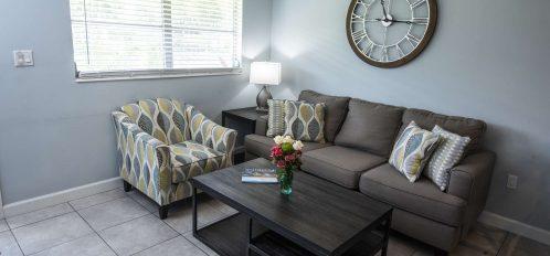 Marco Island Lakeside Inn Standard Villa 2BR-1BA living room