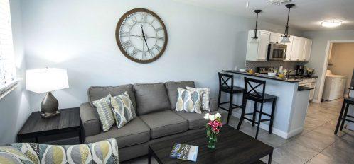 Marco Island Lakeside Inn Standard Villa 2BR-1BA living room to kitchen