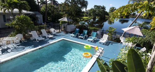 Marco Island Lakeside Inn exterior pool lake walkway from 2nd level