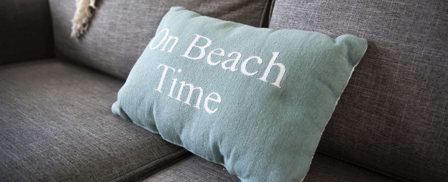 Marco Island Lakeside Inn interior Beach Time pillow closeup