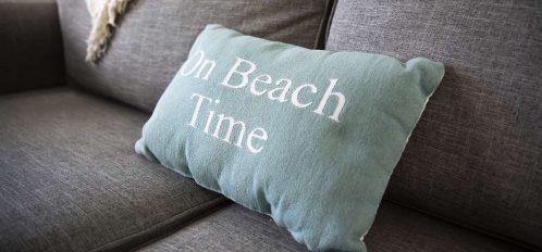 Marco Island Lakeside Inn interior Beach Time pillow closeup