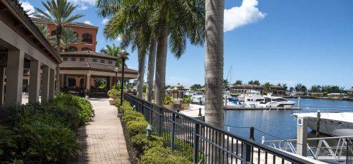 Marco Island area marina walkway near shops